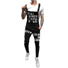 2019 moda general de baberos para hombres Los hombres de la moda de los pantalones vaqueros rasgados Monos Hola Street Letter Impreso Denim Bib Overoles Para Hombre Suspender Pantalones Tamaño S-XXL rebajas moda general de baberos para hombres