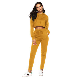 04c3b79a2b1 Women Two Piece Tracksuit Casual Long Sleeve Short Drawstring Hooded Sweatshirt  Pullover with Elastic Waist Pants Outfit Set. Supplier  sopjei