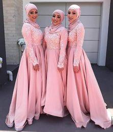 2020 vestido longo muçulmano rosa 2020 rosa Blush Vintage muçulmana da dama de honra Vestidos longa do grupo de mangas Applique Vestidos A-line Maid Modest do vestido da honra desconto vestido longo muçulmano rosa