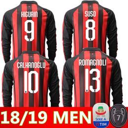 2018 2019 AC Milan Long sleeves soccer jersey 18 19 BACCA home away  BERTOLACCI BONAVENTURA MENEZ AC Milan 3rd football shirts soccer jersey cf63f7784