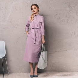 f9652ea180 Pink Button Bandage Shirt Dress For Women 2018 Autumn Winter Long Sleeve  Mid-calf Dress Vestidos Vintage Ukraine Christmas Dress J190509