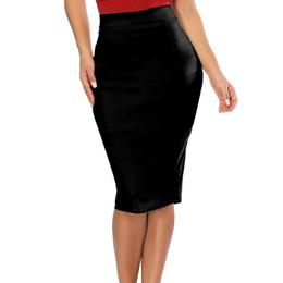 Hxroolrp 2019Womens Élastique Taille Haute Crayon Jupe Stretch Moulante Au-dessous Du Genou Jupe De La Mode Dames En Daim Unie Couleur Ceinture A1 ? partir de fabricateur