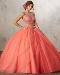 vestidos de quinceañera cor rosa Desconto Luxo orange quinceanera vestidos de baile strass frisado doce 16 ano princesa vestidos para 15 anos vestidos de baile vestidos de noite