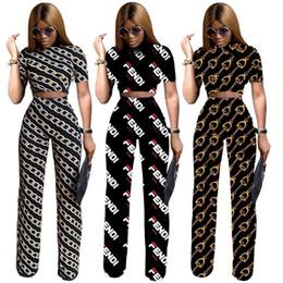 pantalón estampado digital Rebajas F Carta Chándal 3 Estilos Mujeres Camisa de Manga Corta Pantalones 2 unids / set Digital Impreso Ropa Set LJJO6761