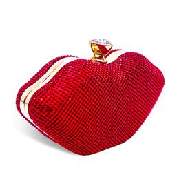 Frizione di sera del rhinestone rosso online-Designer-Red Lips Crystal Sexy Borse da donna Strass Metallo Day Purse Borse da viaggio Diamonds Lussuoso Punk Shoulder Evening Clutch Bag