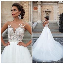2019 vestido celta barato Barato Plus Size A Linha de Vestidos de Casamento Sheer Neck Lace Apliques Vestido De Noiva De Tule Vestidos De Noiva Robe De Casamento vestidos de novia