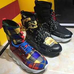 Mens High Top Black Chain Reaction Sneaker Boots Scarpe firmate Scarpe da ginnastica a catena Trainer Luxury Branded Moda Scarpe casual Taglia 35-46 cheap mens chain boots da stivali mens catena fornitori