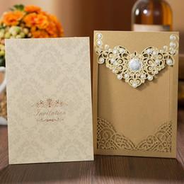 Corte laser barato online-Cheap Good Quality Gold Laser Cut Hollow Invitaciones de boda Tarjetas para negocios Compromiso Cumpleaños Dulce 15 Quinceañeras Invitaciones de boda