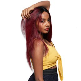 99j parrucche online-T1B / 99J parrucca anteriore del merletto capelli lisci brasiliani ombre Ombre parrucca piena del merletto dei capelli umani per le donne nere capelli remy