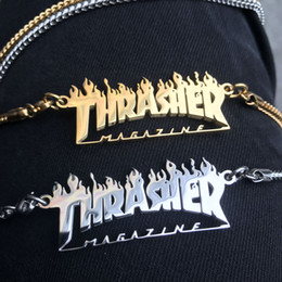 flame necklaces Promo Codes - Designer pendant Thrasher Magazine Flame Logo Fashion personality Titanium steel pendant street hip hop accessories Free shipping