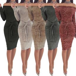 2019 herbst sommer charmante kleider Bowknot-Verband Weg-Schulter-Kleid 5-Farben-lange Hülse Knie-Kleid-Verein Bodycon Abend-Partei-Kleid-Kleidung O-OA6366