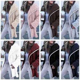 2019 dünne braune lederjacke Frauen Sherpa langer Mantel-Plüsch-Fleece-Jacke Outwear Turn-down-Kragen-Strickjacke-Mantel-Winter Warme Jacken Hoodies Maxi-Sweatshirt Tops Hot