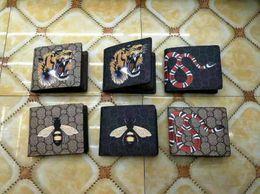 Schlange münzen tasche online-Bset qualität mode braune tasche Geldbörse Clutch Bag Klassische druck tier patterm Kurze Brieftasche Männer Frauen schlange Münze Geldbörsen bilden tasche billig