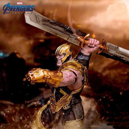Llavero armas online-Avengers Endgame Keychain 2019 Nueva Avengers 4 Thanos arma de doble filo de la aleación de la espada llavero juguetes B