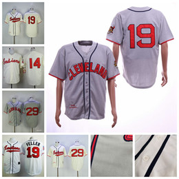 2019 pullover di cooperstown Uomini 19 Bob Feller Satchel Paige Cleveland Larry Doby Indiani Cream Cooperstown Collection Throwback Maglie da baseball pullover di cooperstown economici