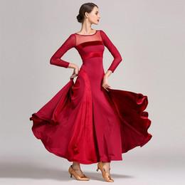 2019 dança trajes valsa 2019 Novo padrão vermelho vestido de baile mulheres valsa vestido franja dança desgaste de dança de salão trajes modernos flamenco dança trajes valsa barato