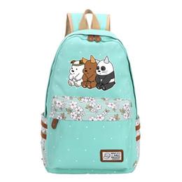 Kawaii rucksäcke online-Grizzly Eisbär Frauen Nette Rucksack Kawaii Reiserucksack Leinwand Schultaschen für Mädchen Im Teenageralter Feminina