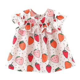 Vestidos de fiesta de la historieta del niño online-Nueva moda de verano para bebés recién nacidos, niñas bebés, vestidos estampados de frutas, fiesta de la princesa, vestidos de algodón sin mangas de dibujos animados ocasionales