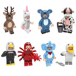 brinquedos de vaca para crianças Desconto Toy Cow animal dos desenhos animados do elefante Águia Pelican Elk Moose Aranha Koala Unicorn Mini Action Figure Building Block Tijolo Para Kid