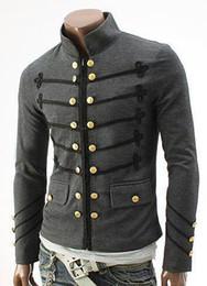 Вышивка Btton Двубортный Мужские Пальто Средневековый Старинные Тонкий Куртки Верхняя Одежда Карман На Молнии Дизайн Мужская Сторона Пальто от