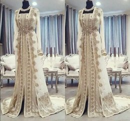 arabic dubai kaftan dress Coupons - Moroccan Caftan Kaftan Evening Dresses Dubai Abaya Arabic Long Sleeves Amazing Gold Embroidery Square-Neck Occasion Prom Formal Gowns
