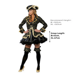 2c8ec6bc36 costume women Pirate Costume Women Sexy Skirt Halloween Party Cosplay  Fantasy Stage Performance Black Gold With Blinder Hat Carnival Outfit