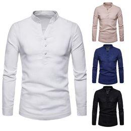 Chemise de plage en lin en Ligne-Chemises hommes Linen Casual Hawaï chemise boutonnée couleur pure manches longues col Chemisier plage loose chemises homme