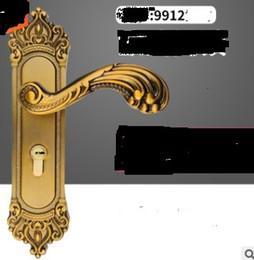 Alças de fechaduras antigas on-line-2020 venda quente Europeu Antigo Cobre Amarelo Fechadura Da Porta Quarto Fechadura Da Porta Fechadura Da Porta de Madeira Maciça Punho 240mm de Comprimento