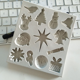 Velas de molde de azúcar online-Copo de nieve Papá Noel Árboles de Navidad Muñeco de nieve Ciervo Moldes para fondant, moldes para velas, herramientas de artesanía de azúcar, molde para chocolate