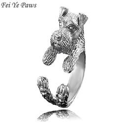 Fei Ye Paws Miniature Schnauzer & Rat Terrier Dog Ring Men Anel Animal Pet Dog Wedding Rings Gift For Women Girls Friends Ring