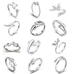 beb60a63b6e7 Lo nuevo 925 anillos de plata esterlina Jewerly delfines libélulas del  ángel amor Fox apertura de la mariposa anillo ajustable para las mujeres  rebajas ...