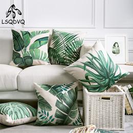 cojín de hoja verde Rebajas Tropical Green Plant Palm Leaf Leaves Monstera Funda de cojín de almohada impresa para sofá Car Home Almofadas 45x45cm