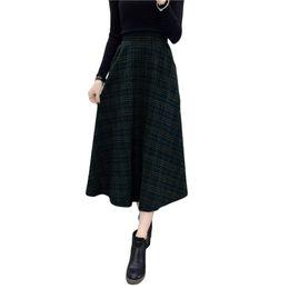 a8aefc7e3c37d 2019 New Fashion Autumn Winter Women Plaid Skirt Woolen High Elastic Waist  Elegant A-Line Vintage Warm Midi Skirts