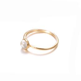 anello di fidanzamento stile coreano Sconti Anelli di fidanzamento per le donne coreane per l'anello semplice della perla dell'oro dell'oro delle donne di disegni nuovi all'ingrosso della fabbrica dei monili di stile di modo