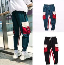 b1c56fe30d8 Korean style Literary pants Young men and women fahsion pants Big pocket  slim Overalls Color matching fashion high quality men clothings discount  harem ...