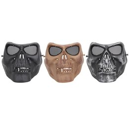skull half face paintball mask Coupons - TPR Cycling Face Mask Creepy Horror Skull Half Face Mask for CS Paintball Party Cosplay Props Toxins  Odor Free Protection