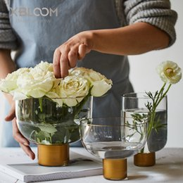 2019 металлические плантаторы Простой стиль искусства Золотой прозрачный стеклянная ваза цветочный горшок фруктовая тарелка главная таблица цветочная композиция свадебный декор водная культура