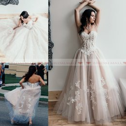 353c1f8aec88 white lace nude lining gown bridal 2019 - Plus Size 2019 Sweetheart Neck  Applique Nude Tulle