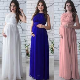 Donna incinta di vendita migliori puntelli foto abito da 3 colori senza maniche in chiffon Estate Abiti Moda maternità vestito solido per il partito da