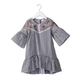 2019 été rayé robe coloré fleur broderie ras du cou robe enfants lanterne manches robe enfants causal bébé filles robes ? partir de fabricateur