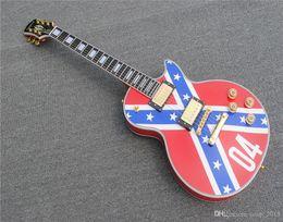 guitarras zakk wylde Rebajas Envío gratisNuevo Custom Shop ZAKK WYLDE Guitarra REBEL BANDERA Heavy Relic Guitarra eléctrica Black Speed Knobs Gold Hardware