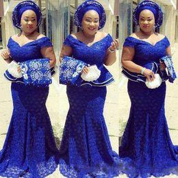 robe de soiree Robes de soirée en dentelle Robe de soirée bleue royale abendkleider Longues robes de soirée nigérianes Mermaid Peplum abiye ? partir de fabricateur