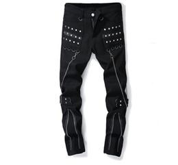 chaînes de pantalon Promotion jeans pas cher hommes biker jeans zippés multiples pantalons pour hommes pantalons suspendus à la chaîne grand corne masculino moto designer de mode