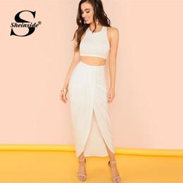 fb675700cef3 Sheinside White Crop Tank Top with Draped Skirt Women Casual 2 Piece Set  2019 Summer Elegant Asymmetrical Hem Skirt 2 Piece Set
