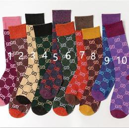Meias de cor doces on-line-2019 outono nova doce cor carta pilha meias femininas tendência da moda multicolor algodão selvagem meias 10 cores