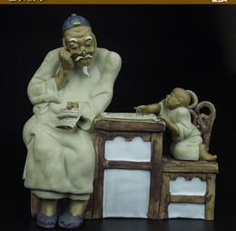Cerâmica velha on-line-12''chinese cerâmica cerâmica pintura de artesanato esculpidos um estudo ensinar menino velho