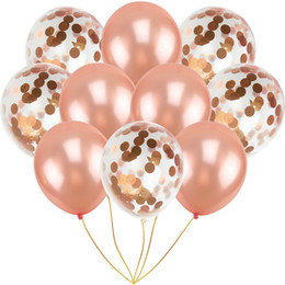 Suministros para la fiesta online-10pcs 12inch Rose Gold Confetti Balloon Latex Pearl Balloons Birthday Party Romantic Wedding Decoration Ballons Party Supplies