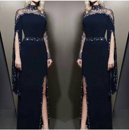 Formaler roter teppich online-Navy Blue Sheer High Neck Mantel Split Abendkleider 2019 Long Sleeves Perlen Formal Party Red Carpet Abendkleider