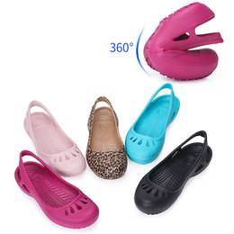 pisos zapatillas de plastico Rebajas Zuecos de las mujeres Sandalias de jalea Inicio antideslizante zapatos huecos de verano mujer zapatillas planas de plástico femenino niñas zapatos de jardín de EVA impermeable