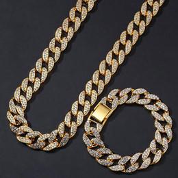 Iced Out Cadeia Cubana SET 15 MM Cubano Pulseira e Cadeia Combinação Hip Hop Jóias Whosales Moda Rapper Singer Moda Hip Hop de Fornecedores de cadeia de ouro do link do retângulo